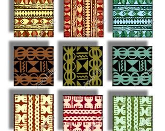 Printable Digital Art, Hawaii,  Clip Art, 1 Inch Squares,  Vintage Polynesian Tapa Cloth Designs Pendant Size, Dominoes CS 194