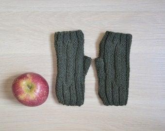 Fingerless gloves, dark green wool, knit mittens for women, winter gloves, wool mittens, green wool gloves, fingerless mittens
