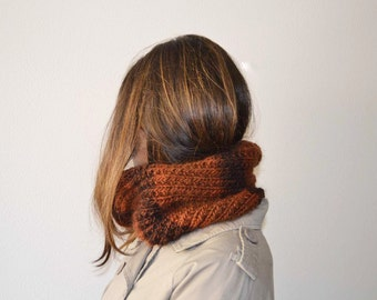 Knit neckwarmer brown circle cowl scarf unisex italian wool accessories
