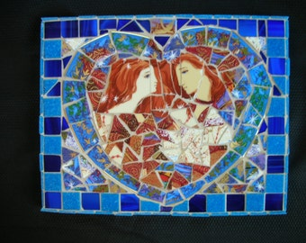 Romeo and Juliet Mosaic made from broken plate