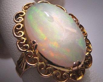 Antique Large Australian Opal Ring Wedding Gold Victorian Art Deco c.1950