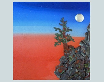 Moonrise at the Edge of the World Polymer Clay Wall Sculpture or Clock 3D