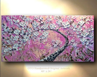 "Made to Order 72"" White Flowers Pink Cherry Blossom Large Landscape Abstract Oil Painting Thick Texture Gallery Fine Art by OTO"