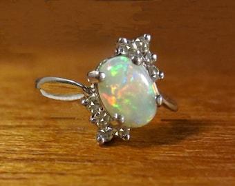 Lady's Australian High Flash OPAL White Gold and (8) Diamonds RING size 6.5