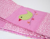 Applique Quilt  blanket baby toddler girl pink quilt applique of sweet bird and rebbit
