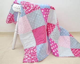 Handmade quilt , personalized quilt blanket , blue and pink baby girl quilt blanket , personalized baby blankets . quilt for sale