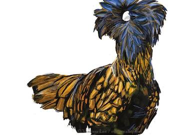 Polish Chicken Print, Bird Wildlife Illustration, Animal Art Postcard PC1