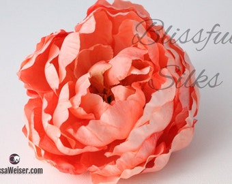 Silk Flowers - One Large CORAL Peach Peony - 5 Inches - Artificial Flowers