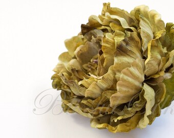 Silk Flowers - One Jumbo Peony in Avocado Green - 7 Inches - Artificial Flowers