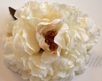 Silk Flowers - One Fabulous Jumbo Peony in Cream with Taupe Accents - Artificial Flowers