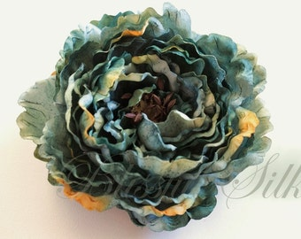 Silk Flowers - One Jumbo Boutique Quality Aqua Green Peony - 7 Inches - Artificial Flowers