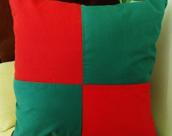 """18"""" Sq. RED and GREEN SQUARES Pillow!   Fun accent for holiday decor.  Basic colors in any room, great mix and match, nice masculine touch."""