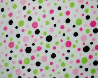 Hot Pink and Lime Dot Minky fabric