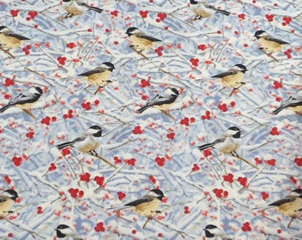 Bird Fabric Chickadee Fabric Sewing Fabric Quilting Fabric Craft Supplies Winter Scene Fabric Timeless Treasures Fabric by the Yard