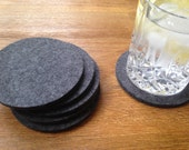 Coasters, Felt Coasters, Felted Wool Coasters, 5mm Wool Felt Coasters, Coaster Set of 6 pieces (CO-10-Gray)