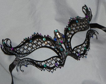Metallic Lace Filigree Masquerade Mask with Teal, Turquoise, Blue and Purple Accents