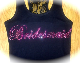 Set of 11 Bridesmaid Hot Pink Rhinestone Tank Top. 11 bachelorette tank tops. Bridesmaid lace . Bride, Maid of honor, mother of the bride