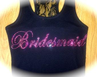 Hot Pink Rhinestone Bridesmaid Tanks. Set of 4 Bridesmaid Lace Tank Tops. Hot Pink Fuchsia Bridesmaid Tank Tops. Bridal Party Tanks.