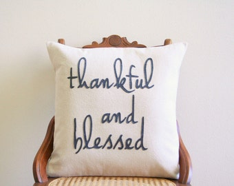 """thankful and blessed decorative pillow cover, 18"""" x 18"""", natural urban farmhouse industrial, inspirational motivational typography"""