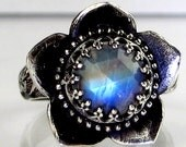 Rose Cut Rainbow Moonstone Large Lotus Ring Sterling Silver
