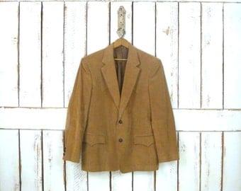 Vintage tan/light brown mens western corduroy sport coat/corduroy blazer jacket