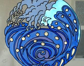 Ocean wave mandala window cling