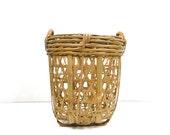 Large vintage wicker basket, Tall basket, Magazine rack, Blanket storage