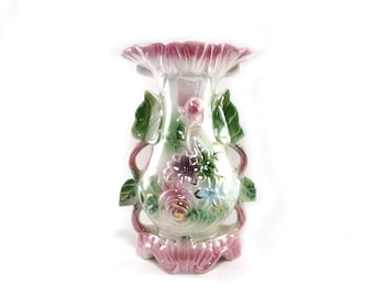 Vintage lusterware vase in pastel pink green and white