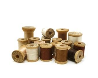 Wooden spools of thread - white, beige, brown, Neutrals, Sewing supplies