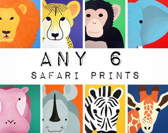 Nursery Art Safari Animal Prints for baby / Child. Pictures of jungle zoo animals SET OF any 6 jungle animal prints by WallFry