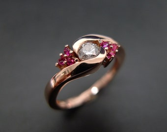 Diamond Wedding Ring with Ruby in 14K Rose Gold
