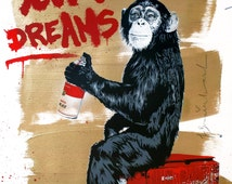Mr Brainwash Canvas (READY TO HANG) - Monkey Follow Your Dreams - Multiple Canvas Sizes