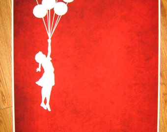 Banksy Print  - Balloons Red - Multiple Paper Sizes