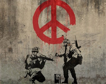 Banksy Canvas (READY TO HANG) - Soldiers Peace on Concrete - Multiple Canvas Sizes