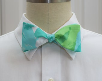Men's Bow Tie in Lilly pool blue First Impressions, self-tie bow tie, groomsmen's gift, wedding party wear, formal menswear, groom bow tie