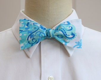 Men's Bow Tie in Lilly aquas and blues Back it Up, self-tie bow tie, groomsmen's gift, wedding party wear, feathers bow tie, groom bow tie