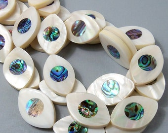 Makabibi Shell with Abalone Shell Inlay, Eye, Natural Shell, Artisan Handmade, Unique Focal Bead, Smooth, 22x34mm, Large, 2pcs - ID 1580