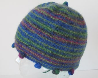 On sale - Girl's Green & Blue Felted Hat with Bobbles