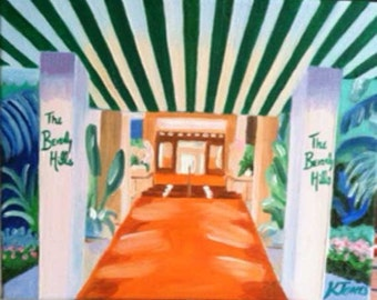 The Beverly Hills Hotel | 8 x 10 Print of Oil Painting Los Angeles Hollywood California red carpet celebrity pink green tropical awning art