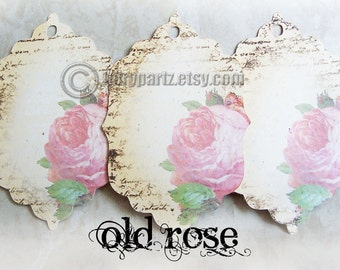 18- OLD ROSE 2x3 Tags, Gift Tags, Shower Favor Tags, Favor Tags, Paper Tags, Price Tags, Clothing Tags
