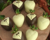 Chocolate Dipped Strawberries~Brides and Grooms, Wedding Favors, Bridal Showers, Weddings