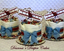 Mini Baby Diaper Cakes Vintage Airplanes SELECT RED or BLUE Set of 3 Shower Centerpieces