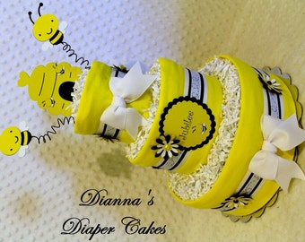 Baby Diaper Cake Bees Theme Shower Gift or Centerpiece