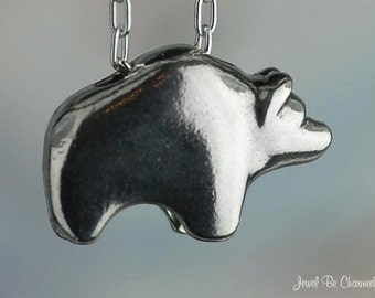 Fetish Bear Pendant Sterling Silver Grizzly Zuni Bear Style Silhouette