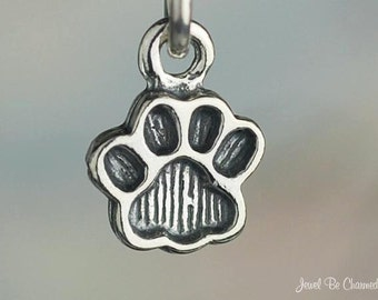 Sterling Silver Miniature Paw Print Charm Pawprint Dog Cat Solid .925