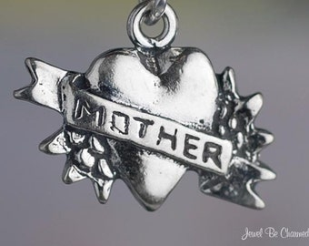 Tattoo Charm Sterling Silver Heart for Mother Mom Family Ink Tat .925