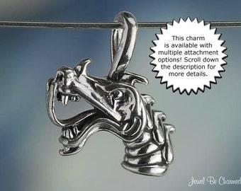 Sterling Silver Dragon CHARM or PENDANT Fantasy Mythology Solid .925