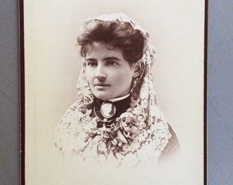 Cabinet Card Photo - Beautiful  San Francisco California Woman -  Lace Mantilla - Cameo