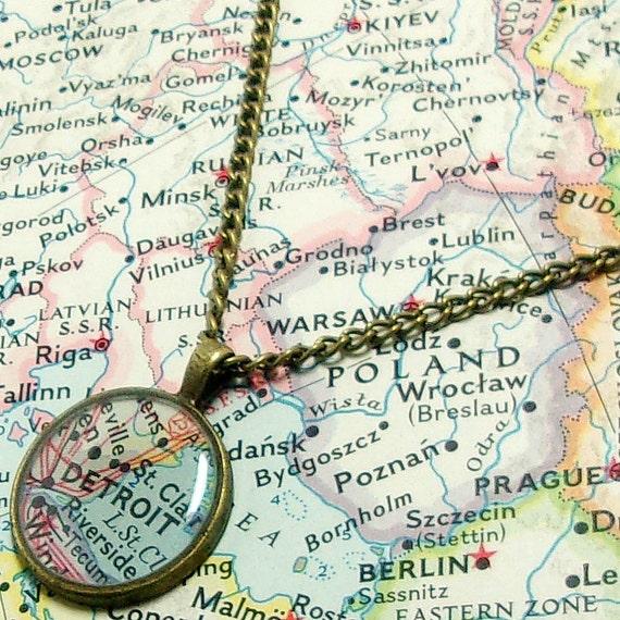 Detroit michigan 1961 map necklace map pendant map jewelry