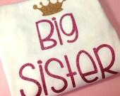 Big Sister glitter shirt bodysuit big sis baby girl toddler glitter shirt Pink Gold Glitter crown Big Sister shirt sister Little Sister